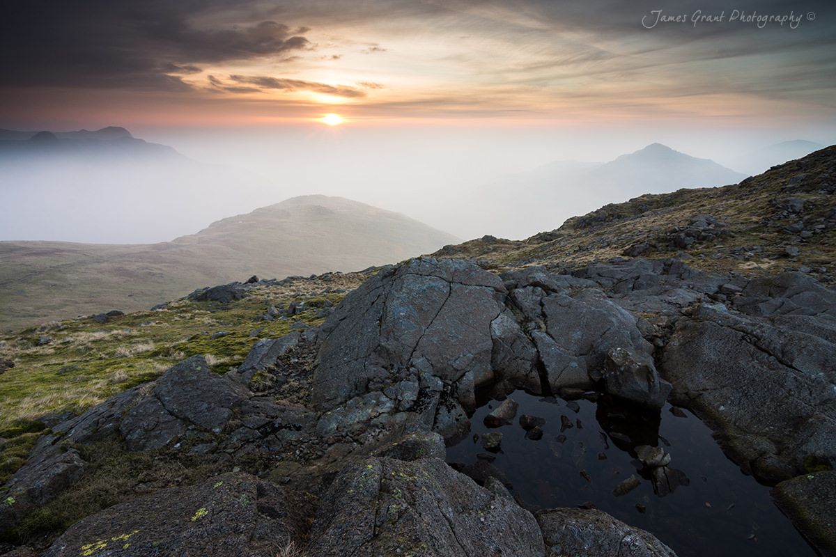 Three Tarns Sunrise - Lake District  Wild Camping Photography