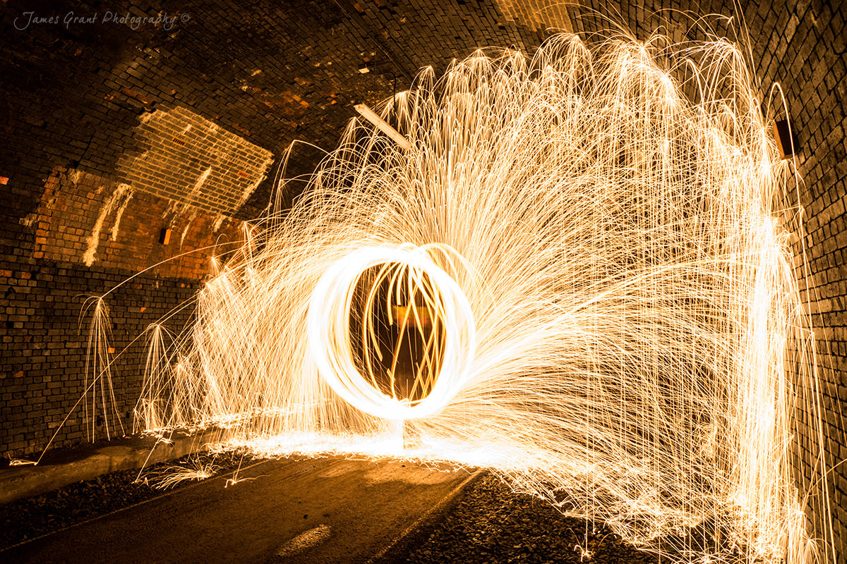 Wire Wool Burning - Monsal Tunnel - Peak District Photography