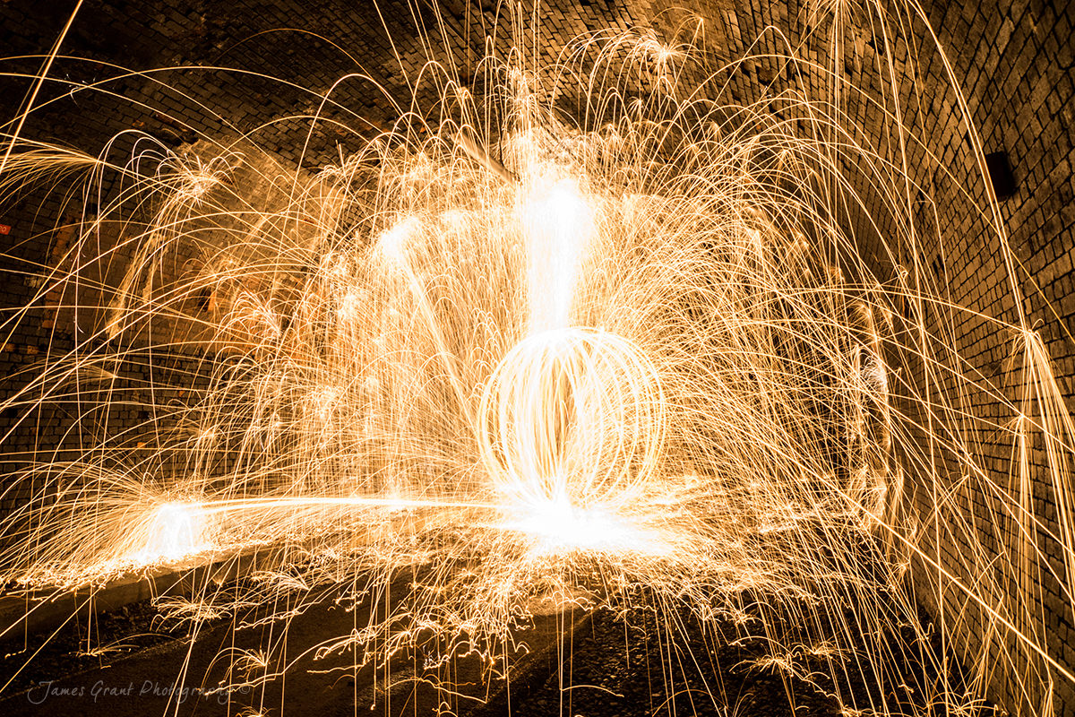 Wire Wool Burning Orb  - Monsal Tunnel - Peak District Photography