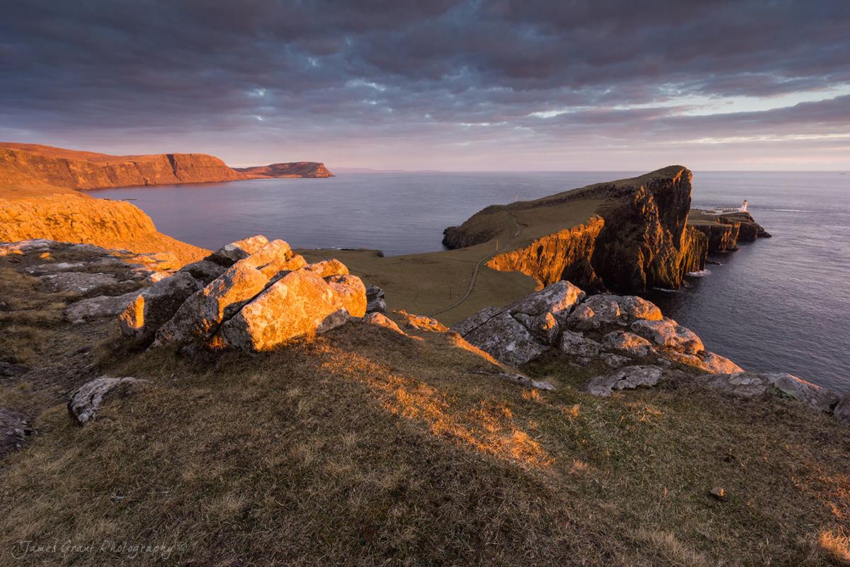 Neist Point Golden Sunset - Isle Of Skye - Scotland Photography