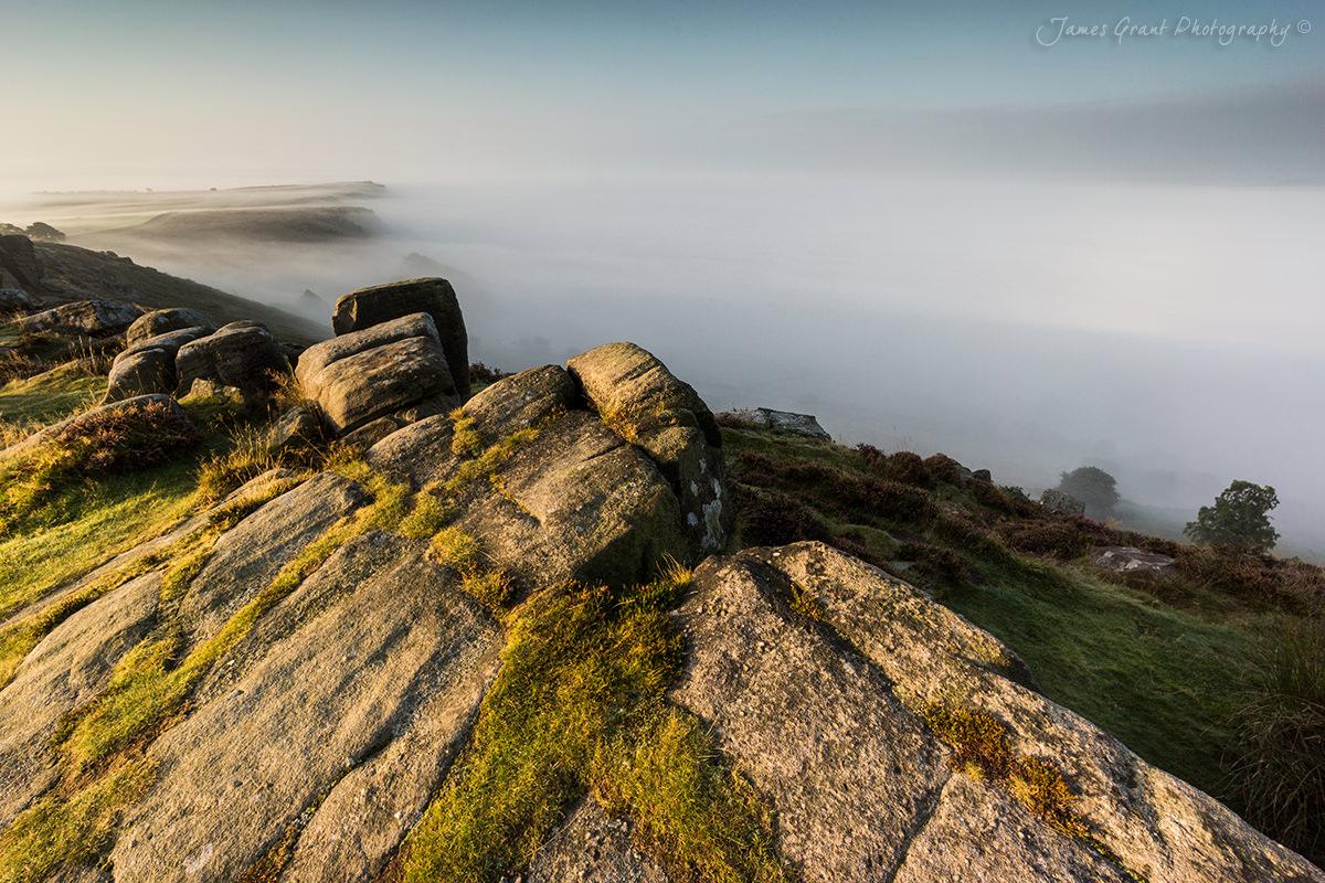 Misty Mornings - Curbar Edge Sunrise - Peak District Photography