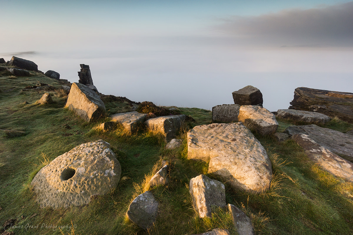 Curbar Edge Millstone and Mist - Peak District Photography